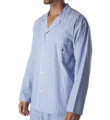 Polo Ralph Lauren 100% Cotton Woven Sleepwear Top (R199) L/Andrew Stripe/Navy Birdseye Stripe Polo