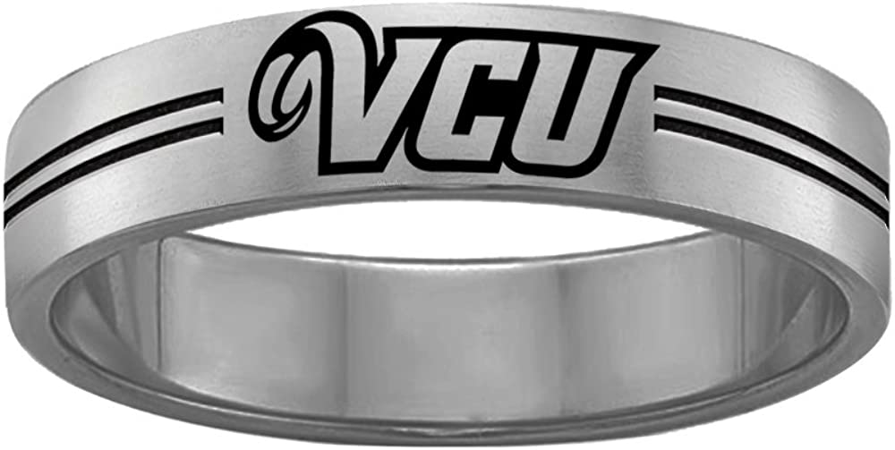 Virginia Commonwealth VCU Rams College Rings Stainless Steel 8MM Wide Ring Band Double Line Style