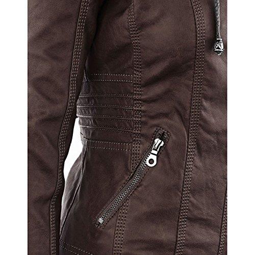 Cuoio 5xl S Hibote Pu Manica Sportiva Outcoat Faux Cappotto Windbreaker Donne Giacche Tuta Marrone Pelle Di O4wzqW6Wn