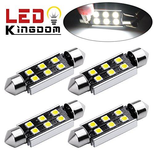 LEDKINGDOMUS 4x 42mm Festoon 3030 6-SMD No Polarity High Power 1W LED Bulbs for Interior Dome Map Trunk Cargo Area Lights-White