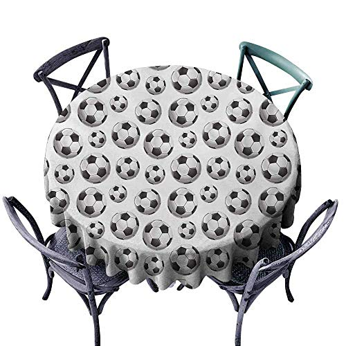 VIVIDX Tablecloth for Kids/Childrens,Boys Room,Pattern with Vivid Graphic Soccer Balls Sports Icon Athletics Hobbies,Table Cover for Kitchen Dinning Tabletop Decoratio,55 INCH,Charcoal Grey White