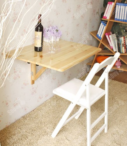 SoBuy Wall-mounted Drop-leaf Table, Double Folding Kitchen & Dining Solid Wood Table Desk, 80cm(31.5in)×60cm(23.6in), Natural, FWT02-N Double Leaf Extensions