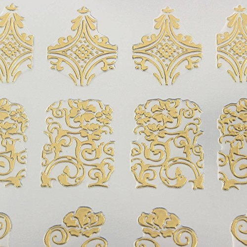 DANCINGNAIL 108Pcs 3D Lace Gold Flowers Stickers Decal for sale  Delivered anywhere in Canada