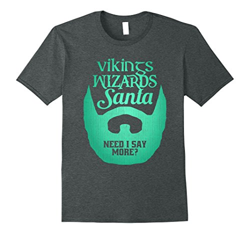 Grey Wizard Beard And Mustache (Mens Funny Bearded Dad Christmas T-shirt Vikings Wizards Santa XL Dark Heather)