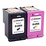 Novajet Remanufactured Ink Cartridge Replacement For HP 62XL 62 XL ( Black, Color, Combo Pack) for ENVY 5640, 5642, 5643, 5644, 5646, 5660, 7640, 7645, OfficeJet 5740, 5742, 5745, 200, 250 Printer