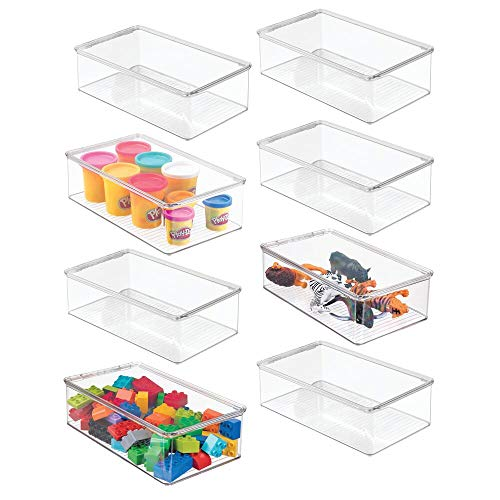 mDesign Stackable Plastic Storage Toy Box Bin with Lid - Container for Organizing Child/Kids Action Figures, Crayons, Markers, Building Blocks, Balls, Puzzles, Crafts - 3
