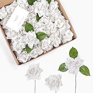 Ling's moment Artificial Flowers 25pcs White Gardenias Flowers w/Stem for DIY Wedding Bouquets Centerpieces Arrangements Party Baby Shower Home Decorations 60