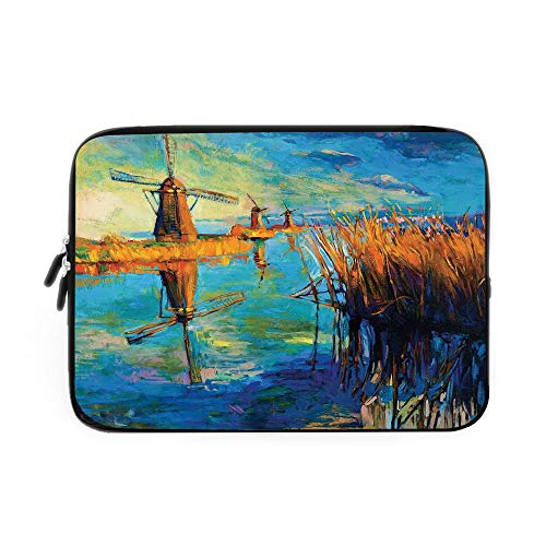 Country Decor Laptop Sleeve Bag,Neoprene Sleeve Case/Modern Painting of Old Windmill Cloudy Sky and Lake at Sunset Nature Art Work/for Apple MacBook Air Samsung Google Acer HP DELL Lenovo ASU ()