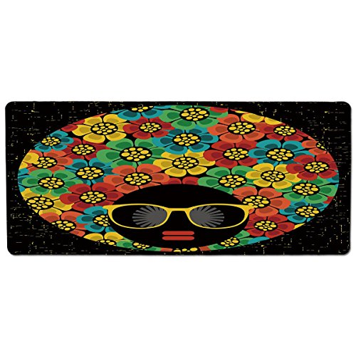 iPrint Pet Mat for Food and Water,70s Party Decorations,Abstract Woman Portrait Hair Style with Flowers Sunglasses Lips Graphic Decorative,Multicolor,Rectangle Non-Slip Rubber Mat for Dogs and -