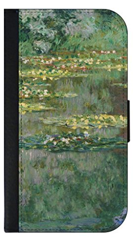 Artist Claude Monet's Water Lilies-Nympheas Painting-Print Design Phone Case with Closing Flip (Nympheas Water Lilies)