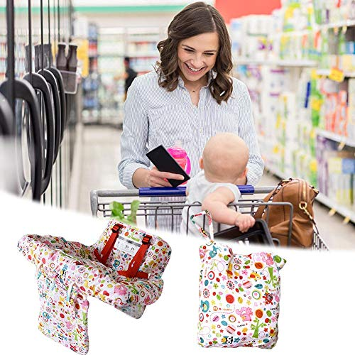 (2-in-1 Shopping Cart Cover,Baby Shopping Cart Cushion with Colorful Pattern,Chair Cushion Protective Travel Portable Mat with Multiple Uses 12070cm)