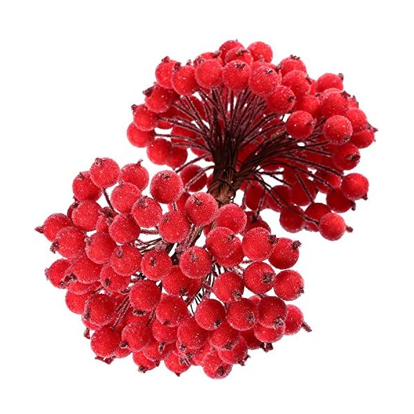 Tatuo-Artificial-Frosted-Holly-Berries-Fake-12-mm-Mini-Christmas-Fruit-Berry-Flower-Decor