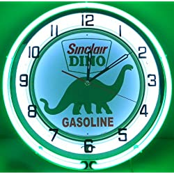 SINCLAIR DINO 18 DUAL NEON LIGHT WALL CLOCK GASOLINE GAS FUEL PUMP OIL SIGN GREEN