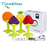 Baby Teething Toys - Tinabless Teething Keys Set Soft Silicone BPA-Free Baby Fruit Teethers Toys Teething Pacifier with Pacifier Clip/Holder for Baby, Infant and Toddler (4 pack)