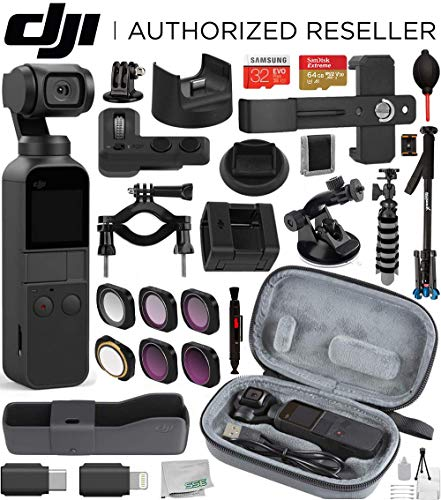 DJI Osmo Pocket Handheld 3 Axis Gimbal Stabilizer(#CP.ZM.00000097.02) with DJI Osmo Pocket Expansion Kit and Integrated Camera Deluxe Travel Bundle