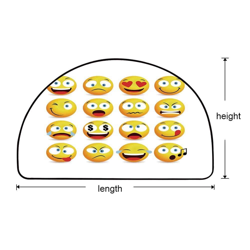 YOLIYANA Emoji Semi Circle Mat,Smiley Faces Collection with Circular Shapes with Various Emotions Singing Angry Carpet Indoor Mat,29.5'' H x 59'' L by YOLIYANA (Image #5)
