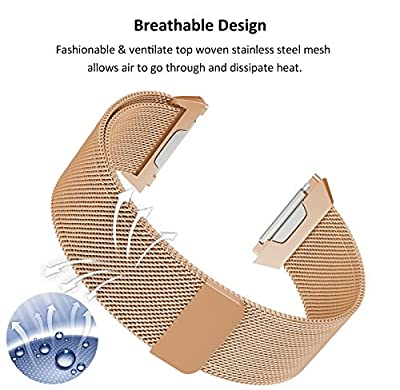 SWEES Fitbit Ionic Bands Milanese Small & Large, Stainless Steel Magnetic Metal Replacement Band for Fitbit Ionic Smart Watch Women Men, Black, Silver, Colorful, Gold, Rose Gold