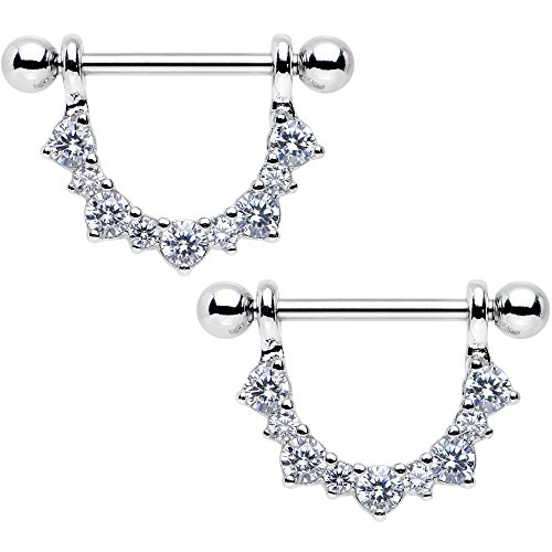 Body Candy Stainless Steel Clear Accent Semicircle Dangle Nipple Ring Set 14 Gauge (Body Dangle Nipple Ring)