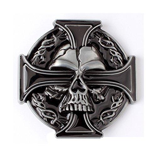 CattleDevil SKULL Eagle Poker Western Cowboy Novelty Belt Buckles for Men Women (cross skull)