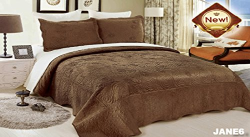 WPM 3 Piece Velvet Bedspread Set Queen or King Size Bed Bedding with Pillow Cases (Jane6- Brown, Queen)