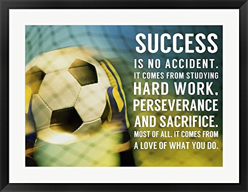 Success Soccer Quote by Sports Mania Framed Art Print Wall Picture, Black Frame, 34 x 27 inches by Great Art Now