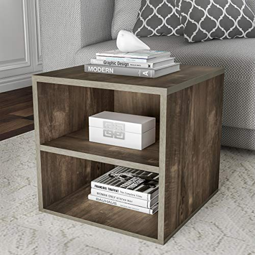 Cube Accent Table - Home 80-MOD-7 Lavish End Stackable Contemporary Minimalist Modular Cube Accent Table Double Shelves for Bedroom, Living Room or Office (Gray),