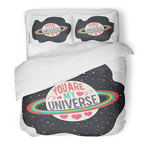- Emvency Bedding Duvet Cover Set Vintage Romantic Text You are My Universe Lettering Quote for Valentines Day Save The Date Inspirational Saturn 3 Piece King 104