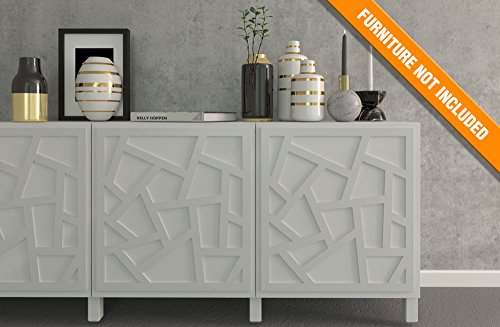 HomeArtDecor | Braga Overlay Panel | Suitable for IKEA Besta | High Quality Fretwork | Color: PVC White/Paintable, Golden Mirror, Silver Mirror, Brushed Silver | Furniture Decoration | Lattice