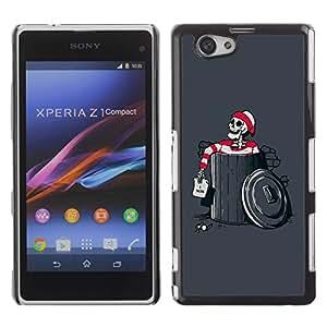 Be Good Phone Accessory // Dura Cáscara cubierta Protectora Caso Carcasa Funda de Protección para Sony Xperia Z1 Compact D5503 // Funny Waldo Skeleton