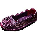 Mordenmiss Women's Fall New Flat Flower Pattern Shoes 38 Style1-Purple