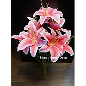 Sweet Home Deco 22'' Silk Lily Artificial Flower Bouquet (7 Flower Headsl) Home/Wedding Decoration 53