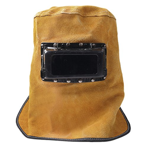 Welding Helmet,Welders Mask Breathable Leather Grinding Welding Hood Anti-dust Face Shield Welder Mask with Lens Glasses Flame Welder Head Neck Cover Cap Hat Heat Resistant Heat Protection