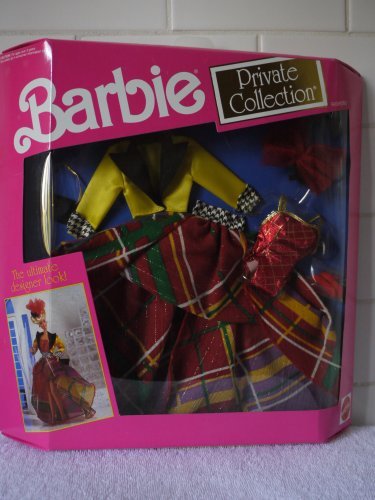 Barbie Fancy Dress Costumes For Adults (Barbie Private Collection Red/Green/Yellow Plaid Gown with Yellow Satin Jacket (1991))