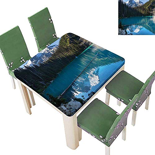 Printsonne Polyester Table Cloth Lake Northern Canada TRE and Snowy Frozen Mounta Novelty Blue White Table 52 x 52 Inch (Elastic Edge) -
