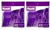 Translucent Purple Plastic Disposable Flatware - 32 Spoons, 32 Forks, 32 Knives - 2 Pkgs of 48