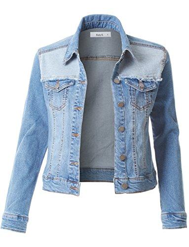RK RUBY KARAT Womens Vintage Distressed Ripped Long Sleeve Denim Jacket by RK RUBY KARAT