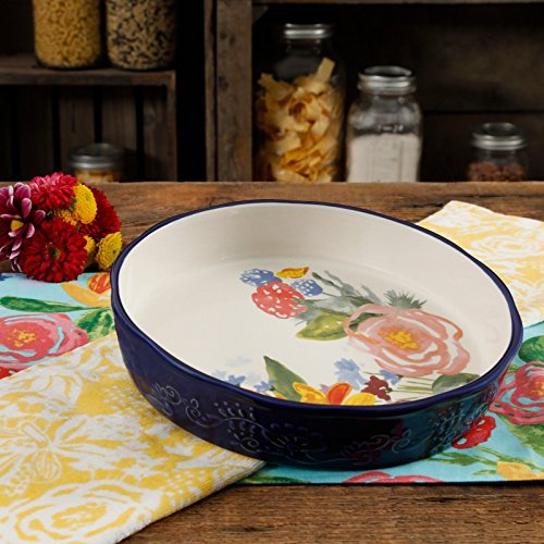 The Pioneer Woman Celia Pie Pan 9'' Blue Floral Ceramic Stoneware by Gibson (Image #3)