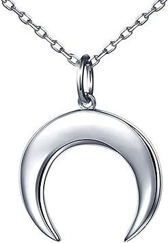 Plata vidrio hueco media luna colgante de cadena de la manera del collar de