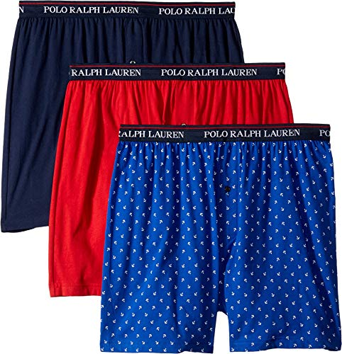 (Polo Ralph Lauren Men's 3-Pack Knit Boxers Cruise Royal/White Anchors/Rl2000 Red/Cruise Navy X-Large)
