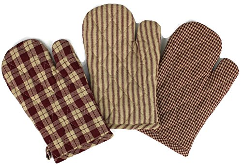 Rustic Covenant Woven Cotton Farmhouse Oven Mitts, Set of 3, 7 inches x 10.5 inches, Burgundy Red/Natural Tan by Rustic Covenant