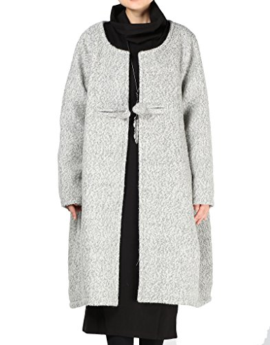Button Wool Coat One (Mordenmiss Women Loose One-Chinese Frog Button Wool Coat XL Light Gray)