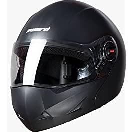 Steelbird Flip Up Full Face Unisex Helmet (Mat Volcanic Black, Large 600Mm)