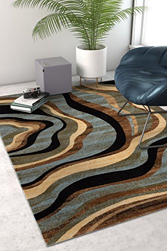 Natural Contemporary Rug (Hudson Waves Blue Brown Geometric Modern Casual Area Rug 3x5 4x6 ( 3'11