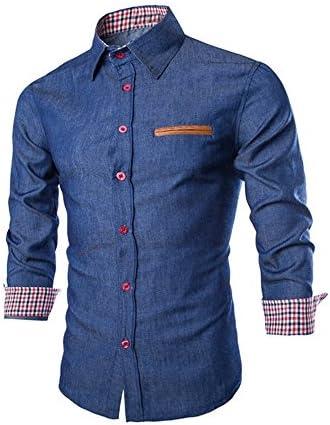 Hombre Camisa de Mezclilla Vaquera Negocios Camisa Manga Larga Slim Fit Camisa Franela de Cuadros Manga Larga para Hombre Camisa Formal Casual de Primavera de los Hombres: Amazon.es: Ropa y accesorios