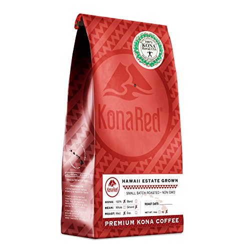 KonaRed USDA Certified 100% Kona Coffee, Medium Roast, Ground, One Pound Bag