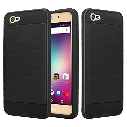 BLU A5 Energy Case, SOGA Shockproof Absorption Anti-Scratch Brush Texture Slim Hybrid Armor Protector Phone Cover Compatible for BLU A5 Energy 5.0 (Black)