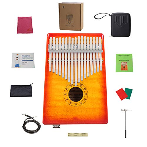 MG.QING Kalimba 17-Key Curly Maple Thumb Piano Built-in EVA Gigh Performance Protection with Pickup,Yellow by MG.QING (Image #7)