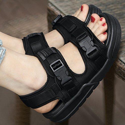 Xing Lin Sandalias De Mujer Sandalias Zapatos Estudiante Dama Amantes Casuales De Verano Zapatos Sneakers Exterior full black
