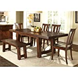 Liberty Furniture Tahoe Dining 6-Piece Trestle Table Set, Mahogany Stain Finish
