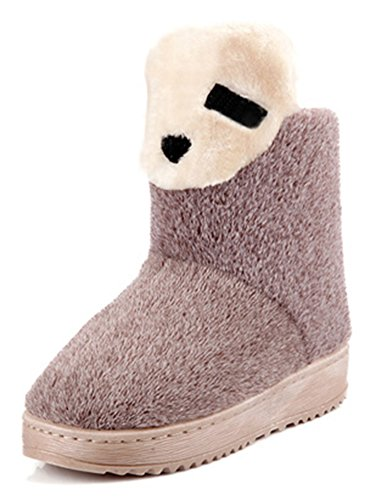 [CHFSO Women's Cute Bear Solid Furry Fully Fur Lined Pull On Low Heel Platform Ankle High Warm Winter Snow Boots Khaki 6.5-7.5 women B(M)] (Furry Boots Cheap)